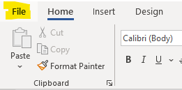 File  Home  Insert Design  Calibri (Body)  copy  Paste  Format Painter  Clipboard